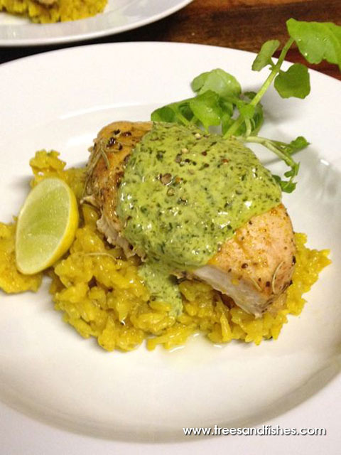 Roasted Organic Chicken, Lemon Zest Risotto w Island Cabbage Sauce