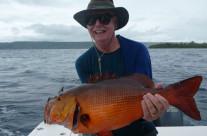 caught a big red bass fish in Vanuatu