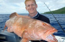 displaying this big fish caught by Thomas in Vanuatu