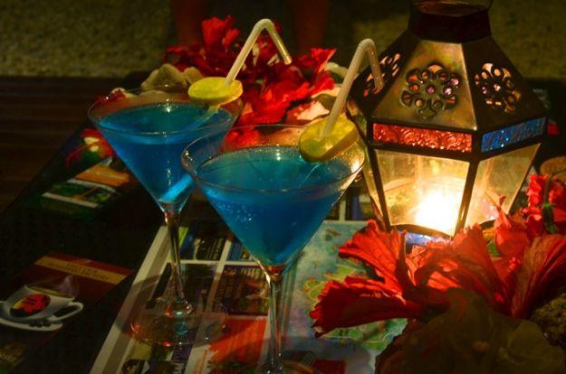 Ocean Blue Martini Cocktail