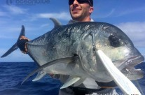angler and a huge GT Fish